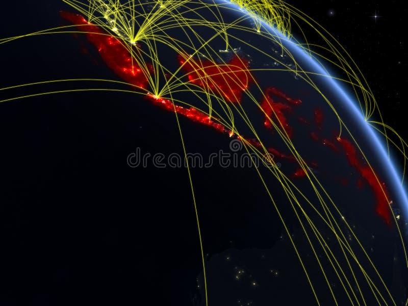 Indonésia do espaço com rede ilustração do vetor