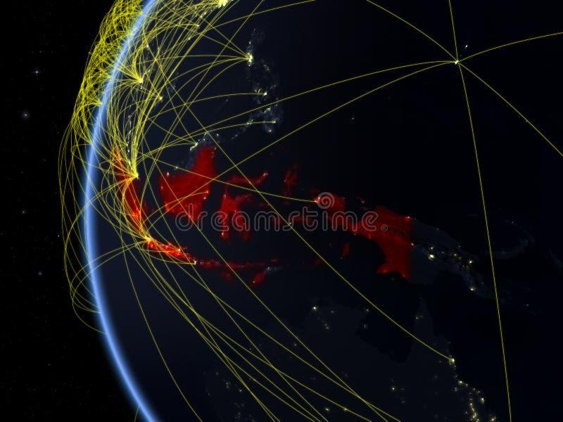 Indonésia do espaço com rede ilustração royalty free