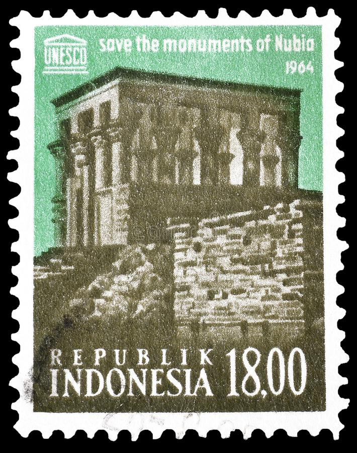 Indonésia em selos postais fotografia de stock