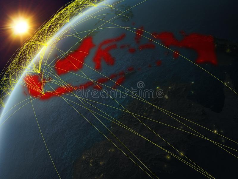 Indonésia na terra com rede ilustração stock