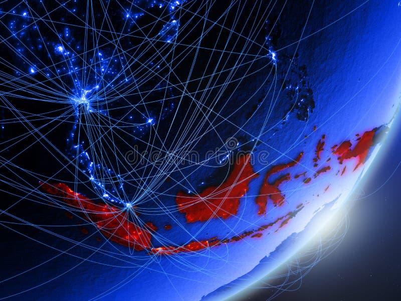 Indonésia na terra digital azul azul ilustração royalty free