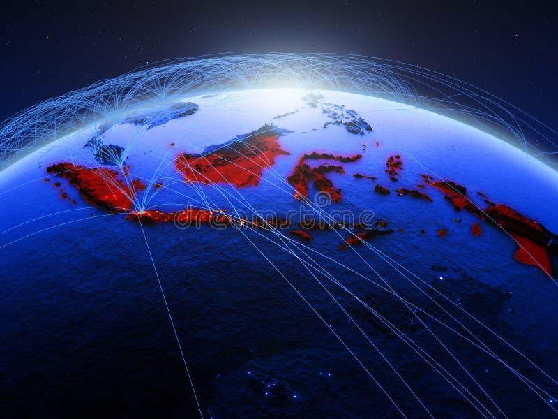 Indonésia na terra digital azul do planeta com a rede internacional que representa uma comunicação, o curso e as conexões 3d ilustração royalty free