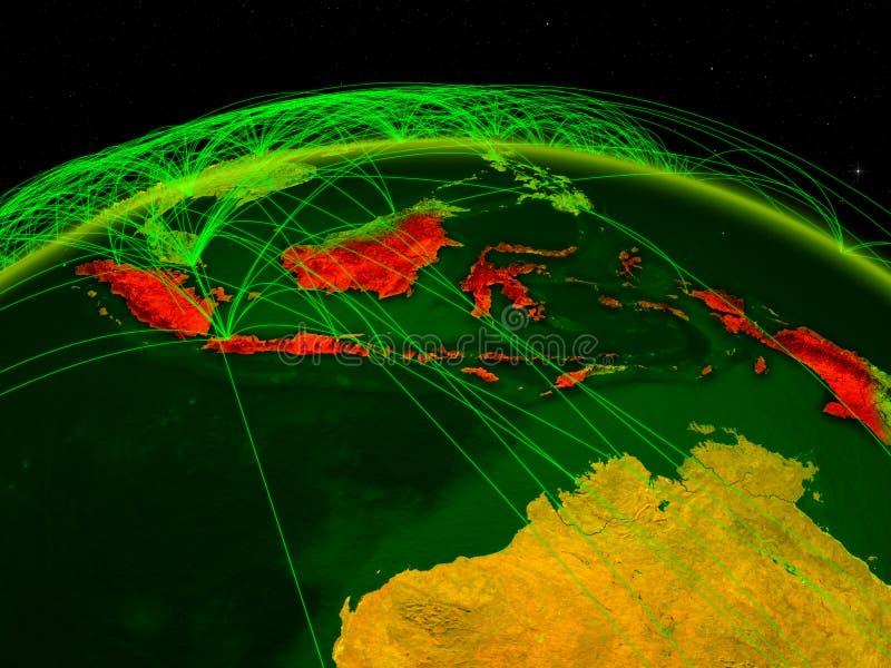 Indonésia na terra digital do planeta com a rede internacional que representa uma comunicação, o curso e as conexões ilustração 3 ilustração stock