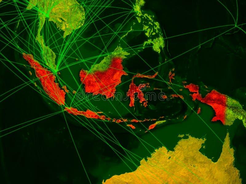 Indonésia no mapa digital ilustração royalty free