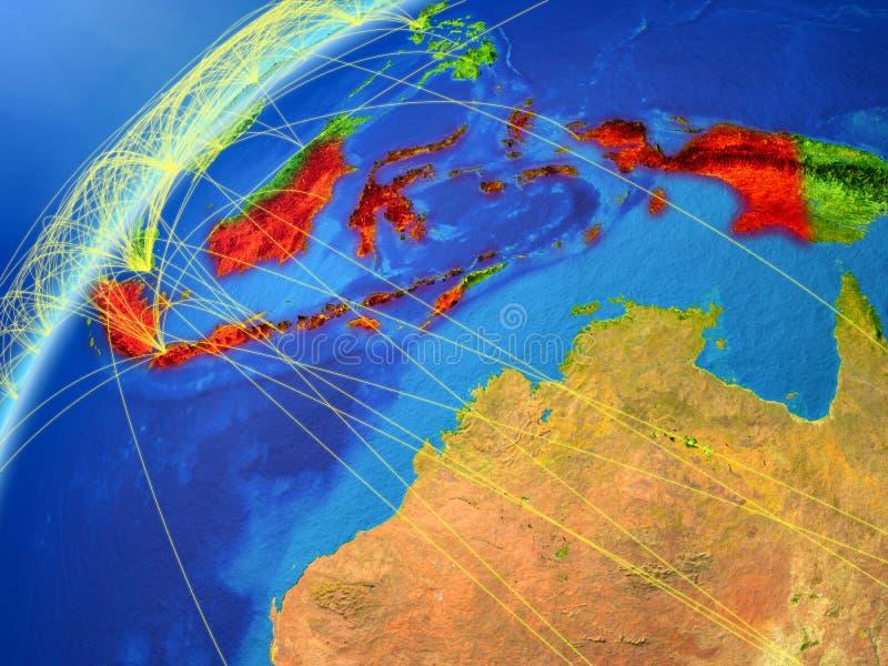 Indonésia no modelo da terra do planeta com redes internacionais Conceito de uma comunicação digital e da tecnologia ilustração 3 ilustração stock