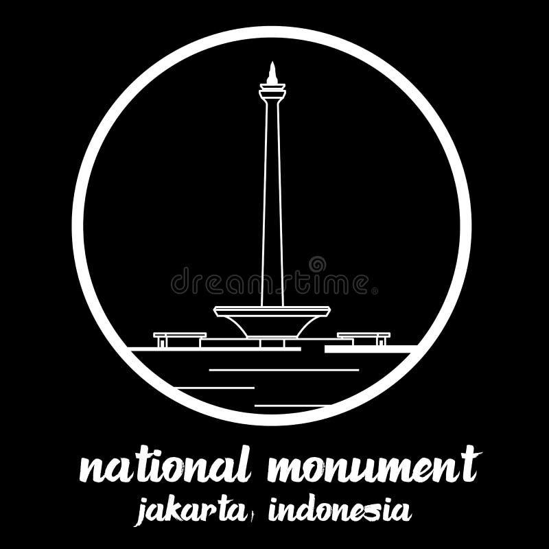 Indonecia do monumento nacional do ícone do círculo s?mbolo do sinal Ilustra??o do vetor ilustração do vetor