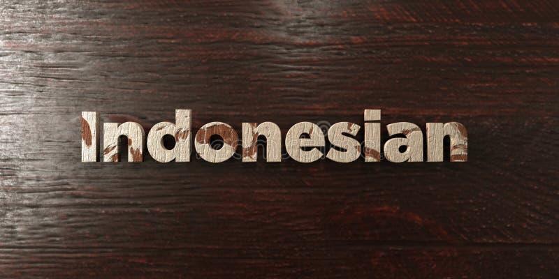 Indones - grungy trärubrik på lönn - 3D framförd fri materielbild för royalty royaltyfri illustrationer