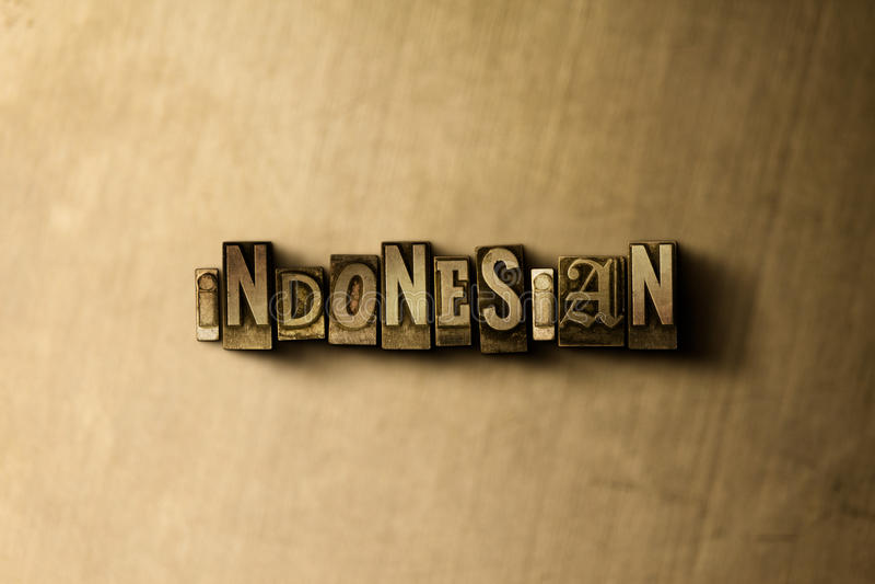 INDONES - närbild av det typsatta ordet för grungy tappning på metallbakgrunden stock illustrationer