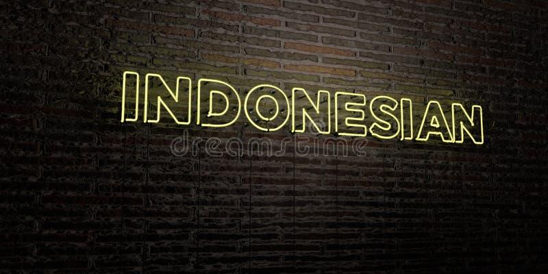 INDONES - realistiskt neontecken på bakgrund för tegelstenvägg - 3D framförd fri materielbild för royalty vektor illustrationer