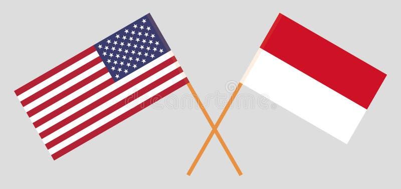 Indonesië en de V.S. De Indonesische en vlaggen van de Verenigde Staten van Amerika Offici?le kleuren Correct aandeel Vector royalty-vrije stock fotografie