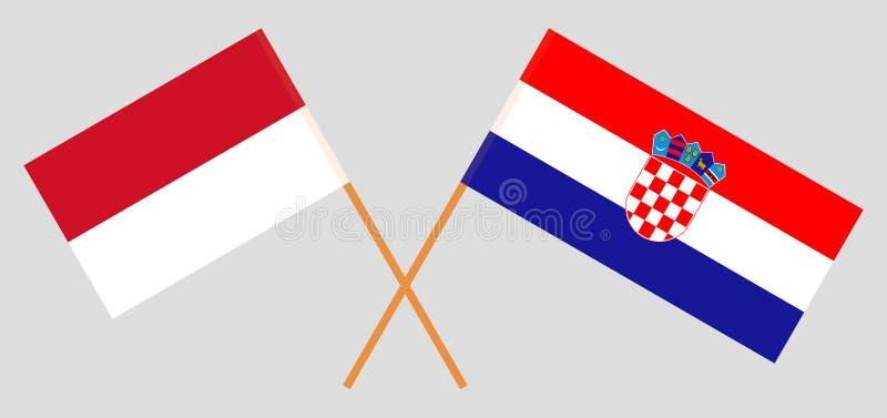 Indonesië en Kroatië De Indonesische en Kroatische vlaggen Offici?le kleuren Correct aandeel Vector royalty-vrije stock afbeelding