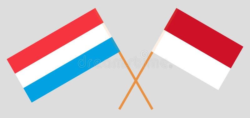 Indonesië en Luxemburg De Indonesische en Luxemburgse vlaggen Offici?le kleuren Correct aandeel Vector royalty-vrije illustratie