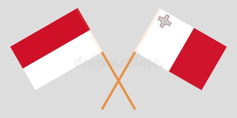 Indonesië en Malta De Indonesische en Maltese vlaggen Offici?le kleuren Correct aandeel Vector royalty-vrije stock fotografie