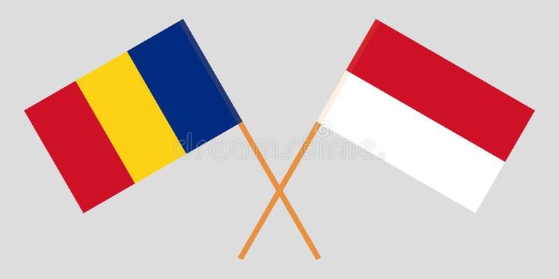 Indonesië en Roemenië De Indonesische en Roemeense vlaggen Offici?le kleuren Correct aandeel Vector stock foto