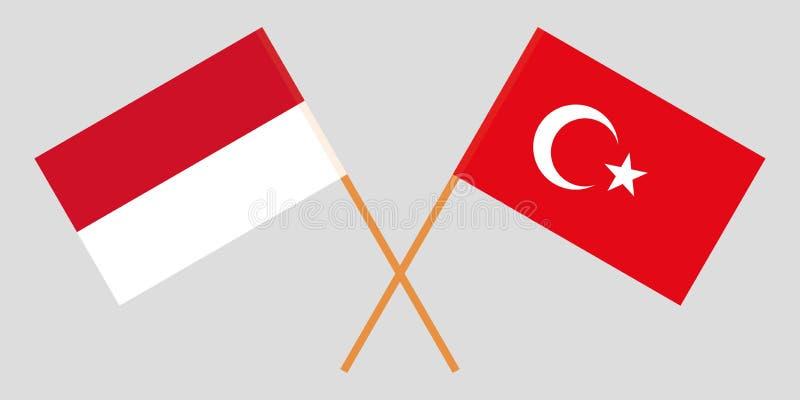 Indonesië en Turkije De Indonesische en Turkse vlaggen Offici?le kleuren Correct aandeel Vector royalty-vrije stock foto's