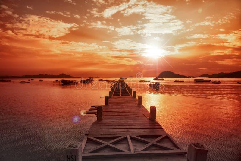 Indonesië, Lombok, Zonsondergang stock afbeeldingen