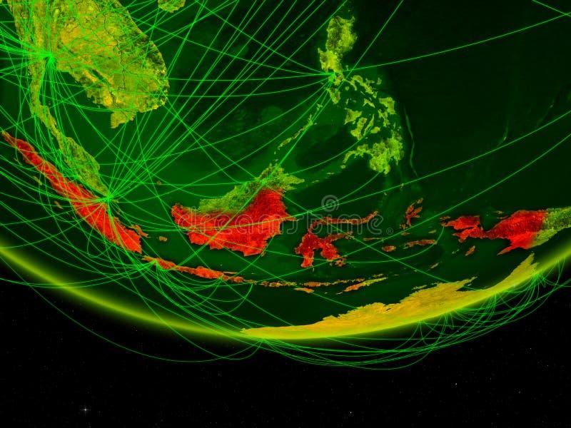Indonesië op groen model van aarde met netwerk die digitaal tijdperk, reis en mededeling vertegenwoordigen 3D Illustratie stock afbeelding