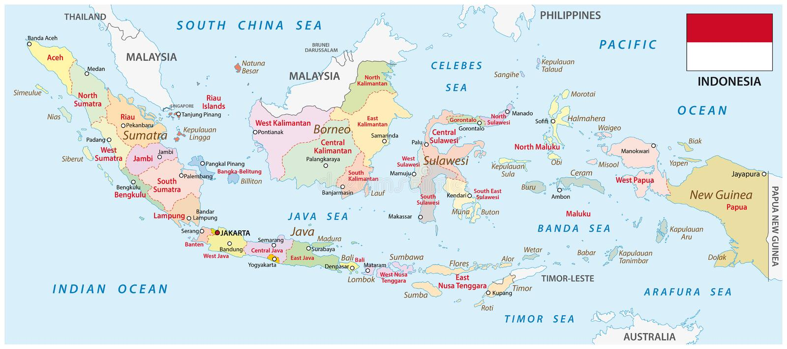 Indonesia Administrative Map With Flag Stock Illustration