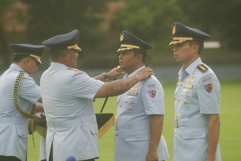 INDONESIA AIR FORCE MILITARY OFFICER ISIS WAR THREAT TERRORISM. Officer inauguration ceremony of Indonesian Air Force. Indonesian President Joko Widodo has royalty free stock photos