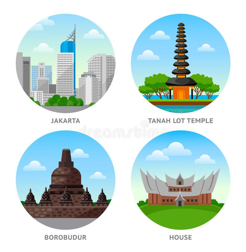 Indonesia Attractions. royalty free illustration