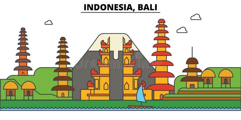 Indonesia, Bali. City skyline architecture . Editable vector illustration