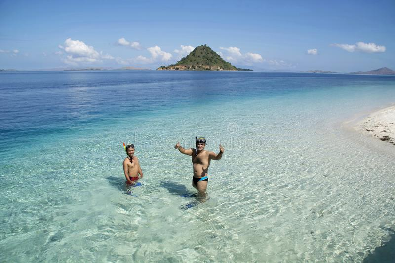 INDONESIA, BALI, May 2016, Snorkelers enjoy the time in the water Snorkeling is a popular recreational activity, particularly at t stock images