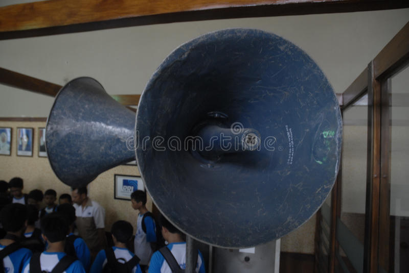 INDONESIA CALL TO STOP INAPPROPRIATE RADIO BROADCASTING. Students visit Indonesian Broadcasting Museum at Solo, Java, Indonesia. Indonesian Broadcasting stock photo
