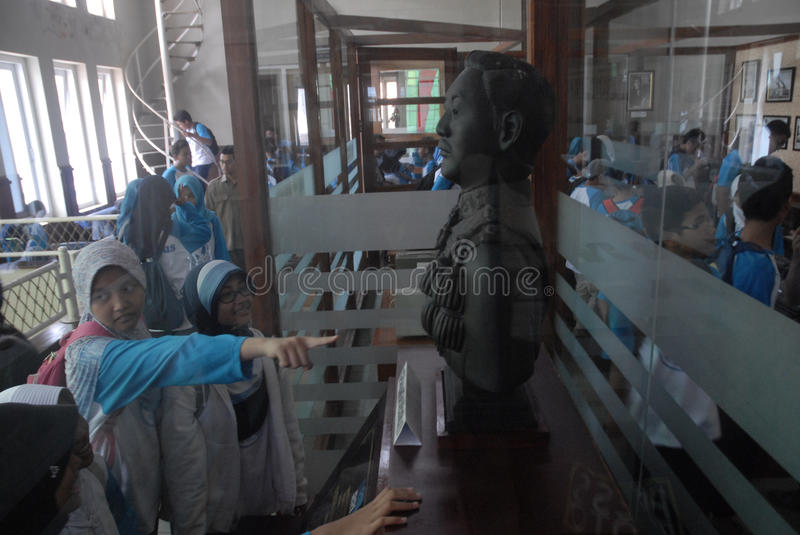 INDONESIA CALL TO STOP INAPPROPRIATE RADIO BROADCASTING. Students visit Indonesian Broadcasting Museum at Solo, Java, Indonesia. Indonesian Broadcasting royalty free stock photo