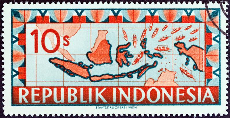 INDONESIA - CIRCA 1949: A stamp printed in Indonesia shows map of Indonesia, circa 1949. INDONESIA - CIRCA 1949: A stamp printed in Indonesia shows map of royalty free stock image