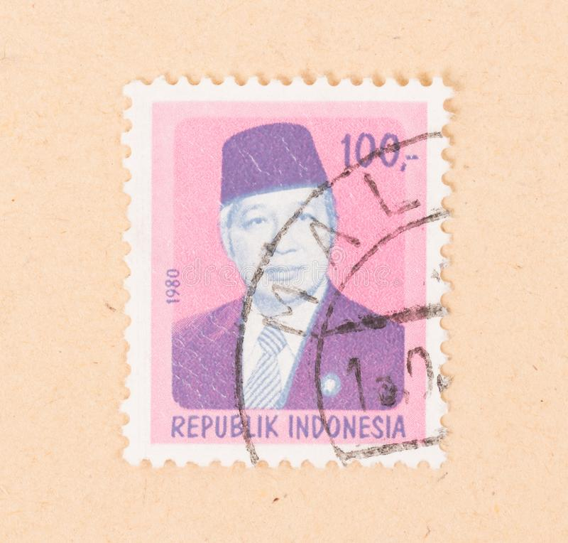 INDONESIA - CIRCA 1980: A stamp printed in Indonesia shows president Soekarno, circa 1980 stock images