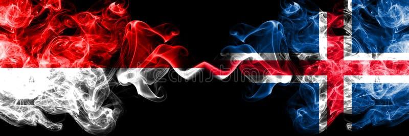 Indonesia contra Islandia, banderas místicas ahumadas islandesas colocadas de lado a lado Banderas sedosas coloreadas gruesas del stock de ilustración