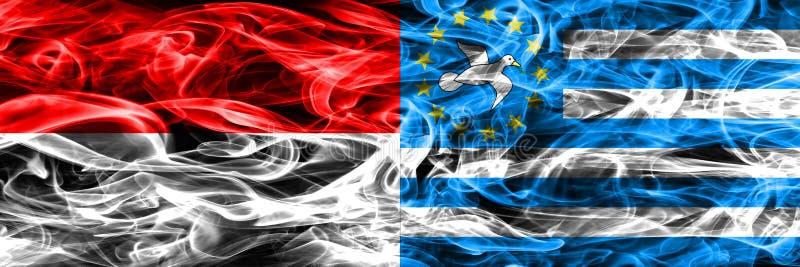 Indonesia contra las banderas del sur del humo del Camerún colocadas de lado a lado Thi imagen de archivo libre de regalías