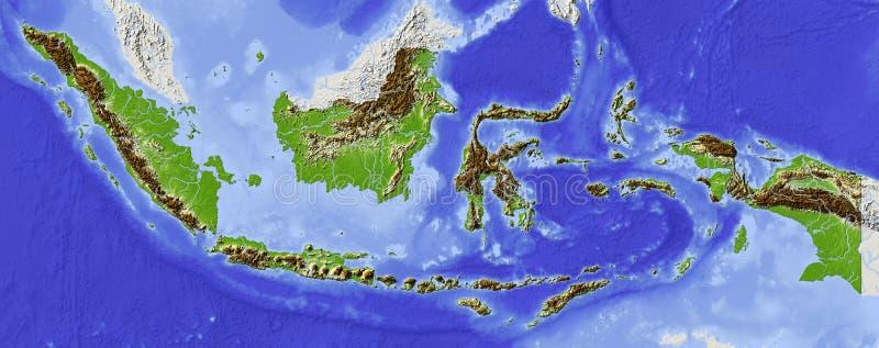 Indonesia, correspondencia de relevación stock de ilustración