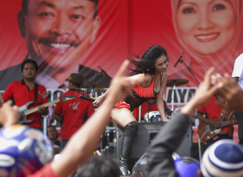INDONESIA DEMOCRATIC HURDLE S. A political rally in Solo, Java, Indonesia. Indonesian democracy in the era of its new President Joko Widodo faces huge obstacle royalty free stock photos