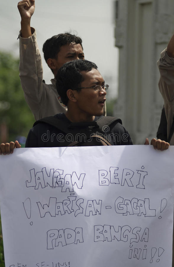 INDONESIA DEMOCRATIC HURDLE S. A protest held by civil group in Solo, Java, Indonesia. Indonesian democracy in the era of its new President Joko Widodo faces royalty free stock photos