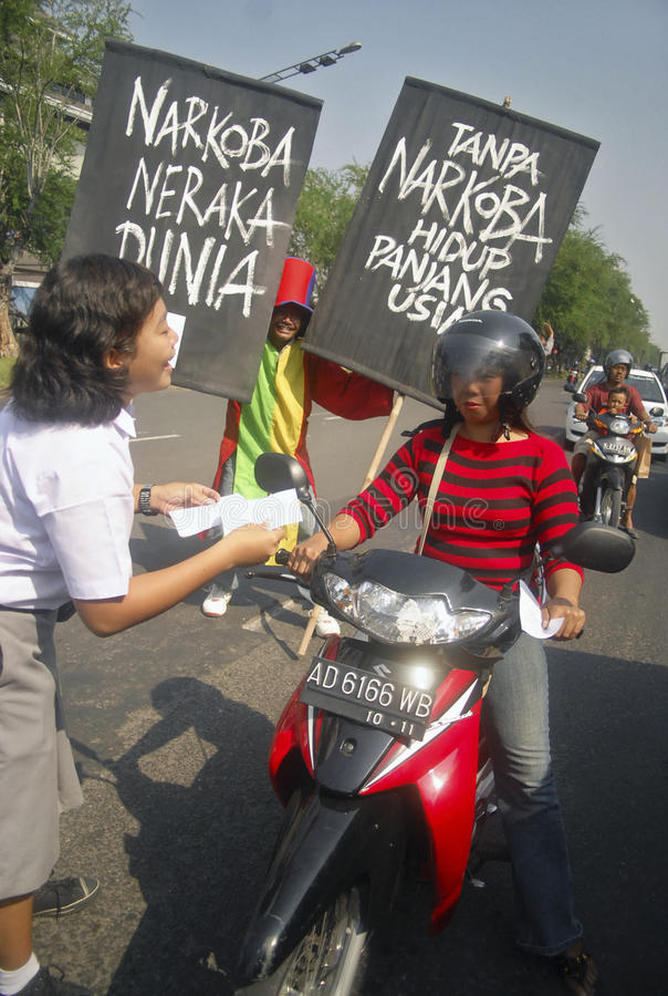 INDONESIA DEMOCRATIC HURDLE S. A protest held by civil group in Solo, Java, Indonesia. Indonesian democracy in the era of its new President Joko Widodo faces stock image