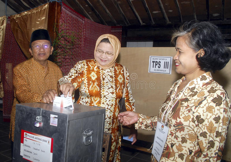 INDONESIA DEMOCRATIC HURDLES. A voting process to elect a local leader in Solo, Java, Indonesia. Indonesian democracy in the era of its new President Joko Widodo stock photo