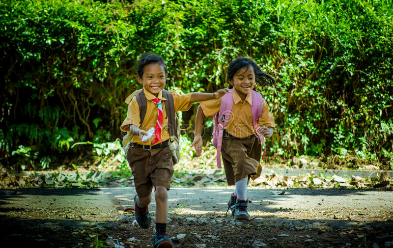 Indonesia elementary school student. Photo was taken in Jember, Indonesia stock photos