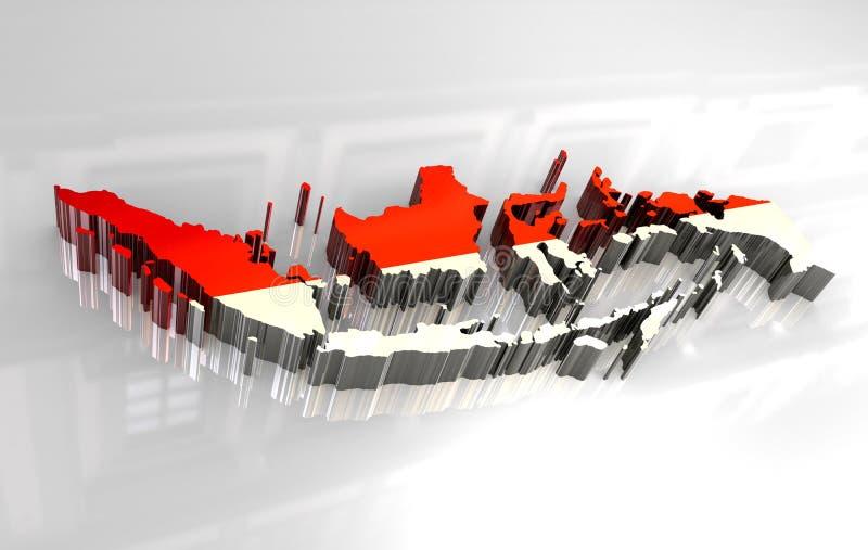 indonesia för flagga 3d översikt stock illustrationer