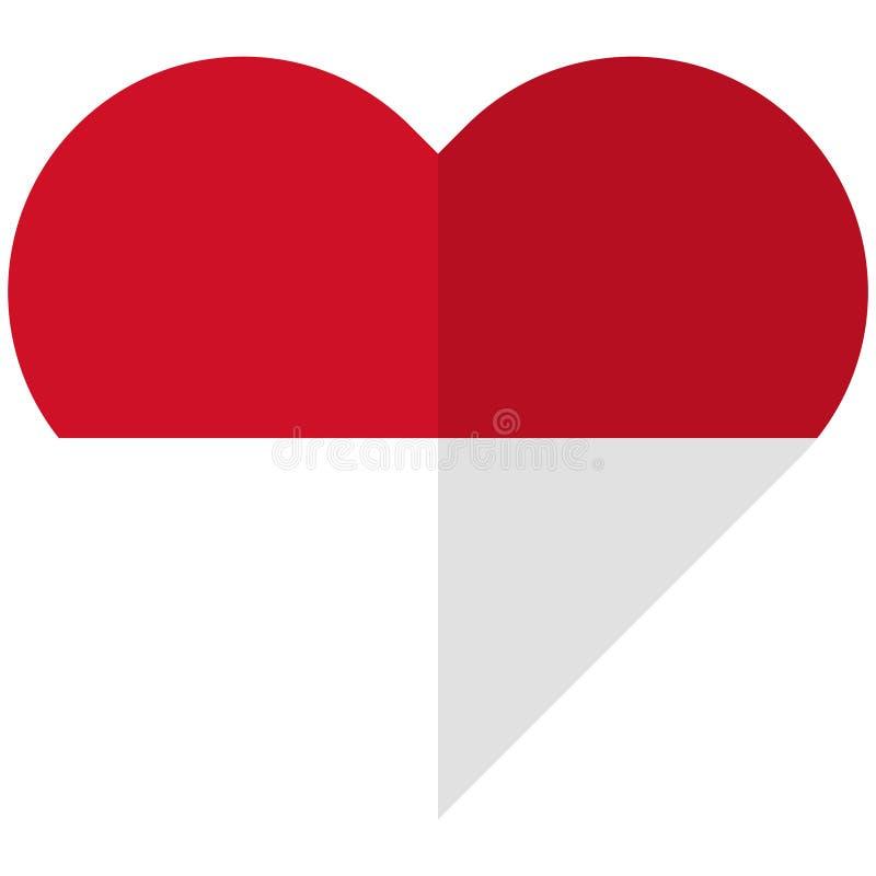 Indonesia flat heart flag royalty free illustration