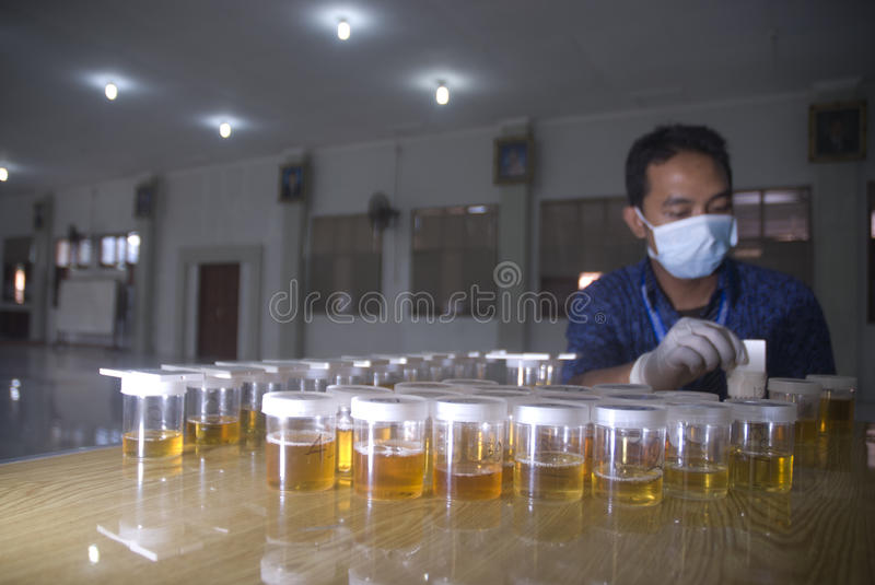 INDONESIA HARSH DRUG LAW. A urine test to detect drug abuses on high school students in Solo, Java, Indonesia. Indonesian law enforce harsh punishment upon drug royalty free stock photo