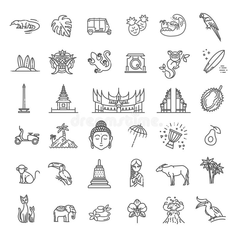 Indonesia icons set. Attractions, line design. Tourism in Indonesia, isolated vector illustration. Traditional symbols royalty free illustration
