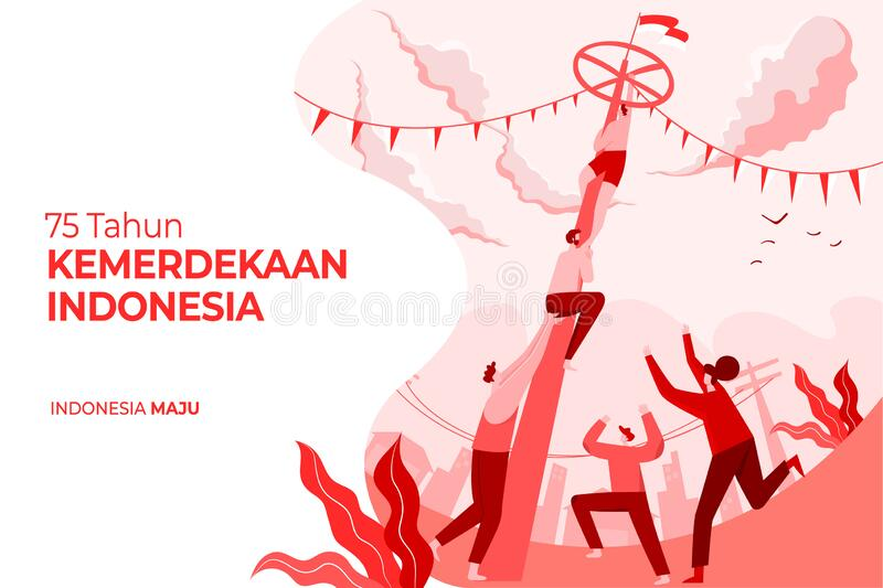 indonesia independence day greeting card traditional games concept illustration tahun kemerdekaan translates to years 190632612
