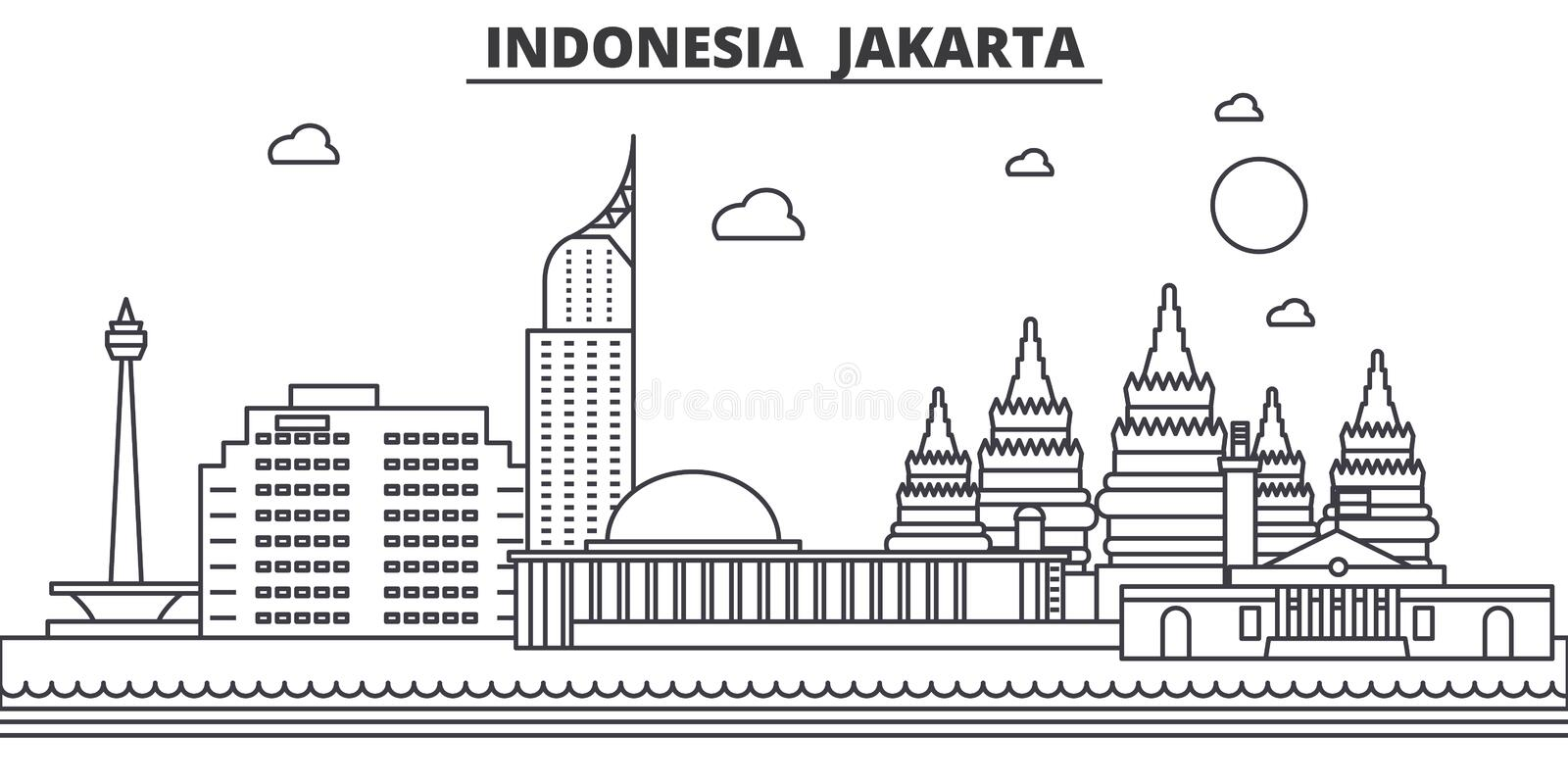 Indonesia, Jakarta architecture line skyline illustration. Linear vector cityscape with famous landmarks, city sights royalty free illustration