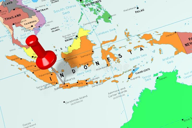 Indonesia, Jakarta - capital city, pinned on political map stock illustration
