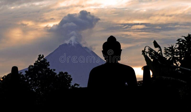 Indonesia, java, Borobudur: Merapi royalty free stock photo