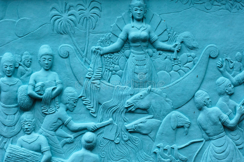 Indonesia, Java: Frescoes; bas relief. In blue; carved and painting images related with the indonesian sea legends royalty free stock images