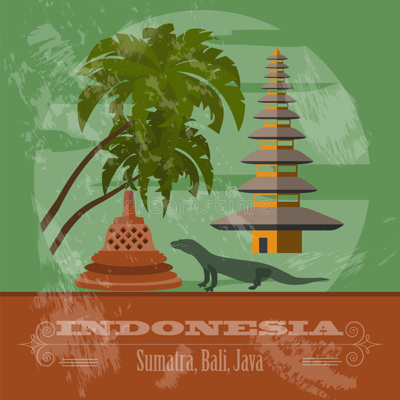 Indonesia landmarks. Retro styled image royalty free illustration