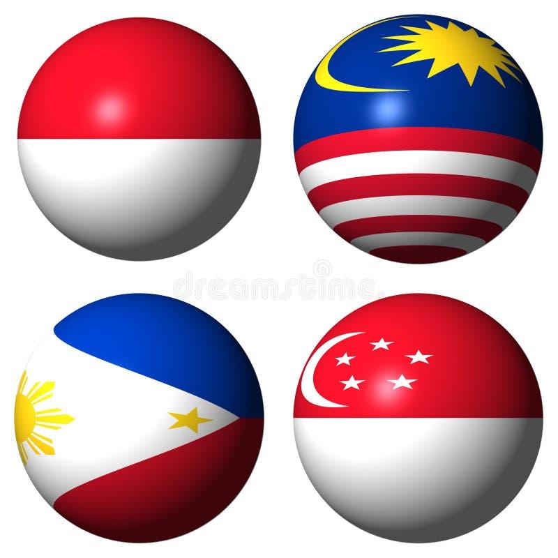 Indonesia Malaysia Philippines Singapore Flags Stock Photo