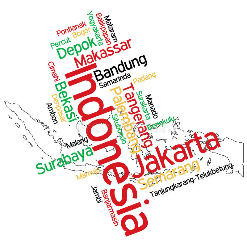 Indonesia map and cities stock illustration